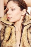 毛皮的女人 — 图库照片
