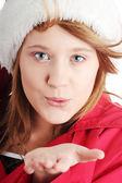 Christmas teen girl in santa hat — 图库照片