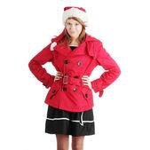 Christmas teen girl in santa hat — Stock Photo