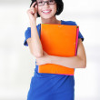 Stockfoto: Happy student with notebooks