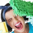 Stock Photo: Tired and exhausted cleaning woman