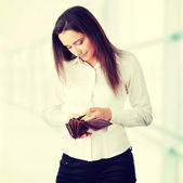 Woman with empty wallet — Stock Photo