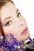 Woman with colorful makeup — Stock Photo