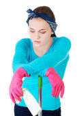 Exhausted cleaning woman — Stock Photo