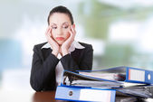 Tired and exhousted business woman. — Stock Photo