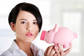 Happy business woman with her savings  — Stock Photo