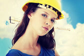 Woman construction worker contractor — Stock Photo