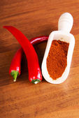 Two chili peppers with paprika spice. — Stock Photo