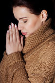 Young woman praying. — Stock Photo