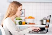 Woman working on laptop. — Stock Photo