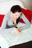 Searching in map. — Stock Photo
