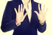 Business woman showing stop gesture. — Stock Photo