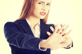 Business woman stop gesture. — Stock Photo