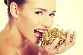 Woman with fresh green cress. — Stock Photo