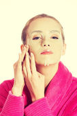 Woman with collagen mask. — Stock Photo