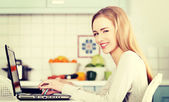 Woman working on laptop. — Stock Photo