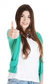 Dziewczyna skrzyżowane kciuki — Zdjęcie stockowe