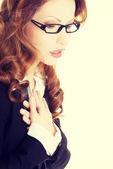 Dor de coração de sentimento de mulher de negócios — Foto Stock