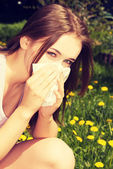 Young woman with allergy — Foto de Stock