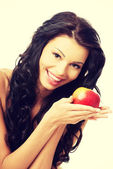 Sexy woman with red apple — Stock Photo