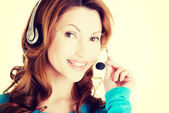 Woman with headphones. — Stock Photo