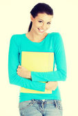 Student woman with notebooks — Stock Photo