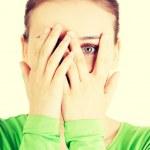 Scared teenage girl — Foto Stock