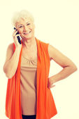 Woman talking through phone. — Foto Stock