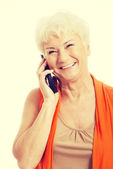 Woman talking through phone. — Stock Photo