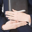 Notebook and pen in woman's hands. — Stock Photo #48467039