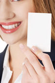 Woman holding personal card. — Stock Photo