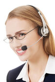 Business woman at call center. — Photo