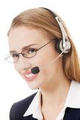 Mulher de negócios em call center. — Foto Stock