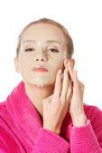 Woman with collagen mask — Stock Photo