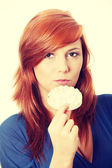 Young and beautiful woman with rice cake — Stock Photo