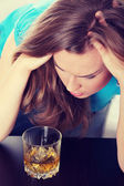 Young corpulent woman in depression — Stock Photo