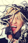 Businesswoman in cables — Stock Photo