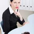Beautiful business woman showing to be silent. — Stock Photo #7842013