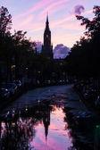 Nieuwe Kerk in Delft, Netherlands in the afterglow — Stock Photo