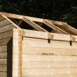 Construction of a wooden hut — Stock Photo