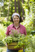 Woman with herbs in a garden — Stockfoto