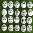 Royalty-Free Stock Photo: White eggs and  many funny faces