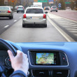Highway driving fast with gps — Stock Photo #12300289