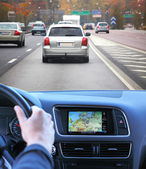 Highway driving fast with gps — Stock Photo