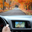 Travel by car with gps - Stock Photo