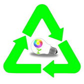 Recycling and renewable energy sources, glass bulb motif — Stock Photo