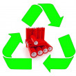 Recycling red aa batteries — Stock Photo