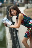 Pretty girl with a book — Stock Photo