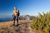 Adult hiker at Ornak Peak, Tatra Mountains, Poland — Stock Photo