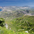 Landcsape of Sicily from Erice city, Italy - Stock Photo